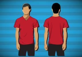 Modello shirt con scollo av maschio vettore
