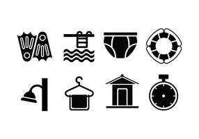 Piscina imposta icone vettore