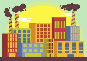 Vettore dell'illustrazione della fabbrica della pila del fumo