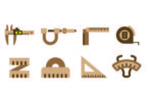 Set di icone vettoriali strumento marrone