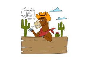 Carattere divertente del cowboy del cavallo con Cactus e legno con il fumetto circa Wild West vettore