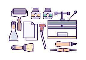 Icone dell'attrezzatura litografia gratuita vettore