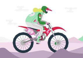 Illustrazione piana di vettore di Motorcross di guida
