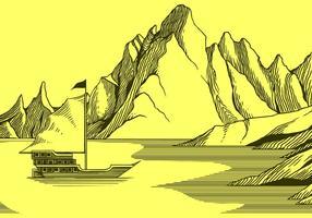 Vettore libero della vecchia litografia della montagna e della nave
