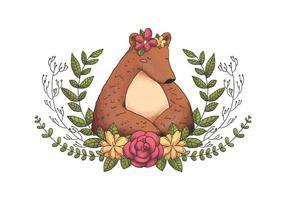 Simpatico animale foresta orso con corona di fiori, foglie e fiori