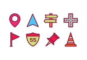 Roadmap e icone di viaggio vettore