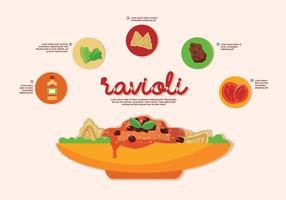 Illustrazione italiana di vettore dell'ingrediente dei ravioli dell'alimento