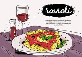 Ravioli italiani dell'alimento sull'illustrazione disegnata a mano di vettore del piatto