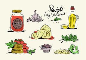Menu degli ingredienti dei ravioli dell'alimento italiano disegnato a mano vettore