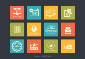 Retro icone di vettore di acquisto e di commercio elettronico