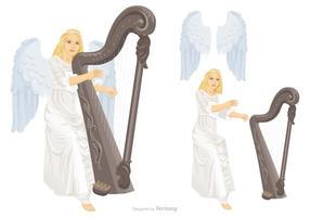 Il bello angelo con le ali sta giocando il vettore dell'arpa