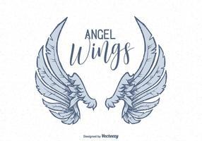 vettore disegnato a mano ali d'angelo