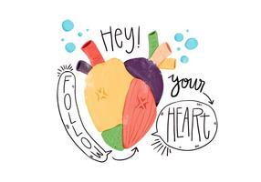 Acquerello cuore colorato con il fumetto vettore