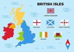 Isole britanniche gratis mappa vettoriale