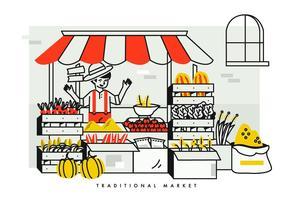 Contadino che vende verdure e frutta al mercato tradizionale vettore