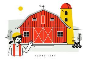 Contadino che mostra l'illustrazione di vettore del granaio del raccolto rosso