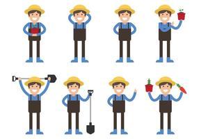 Set di caratteri contadini vettore
