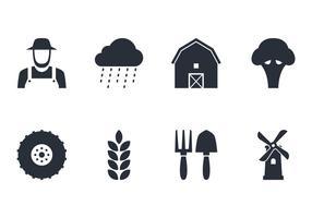 Set di icone di fattoria vettore