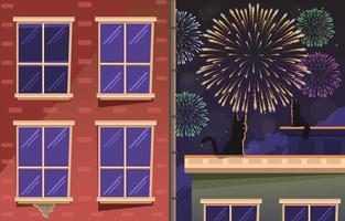 goditi i fuochi d'artificio di Capodanno da casa vettore