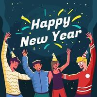 festeggiare la notte di capodanno con gli amici vettore