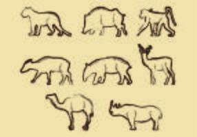 Litografia di forma animale vettore