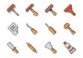 Vettore libero delle icone degli strumenti di litografia