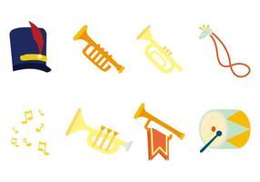 Vettore libero delle icone dello strumento della banda musicale