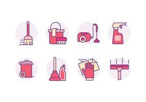 Icone degli strumenti di pulizia vettore