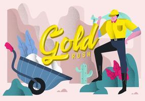 Illustrazione tipografica di vettore del fondo di febbre dell'oro