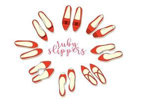 Vettore di pantofole vermiglie