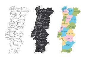 Mappa del Portogallo vettore
