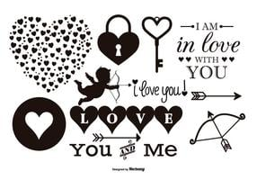 raccolta di elementi di amore vettoriale