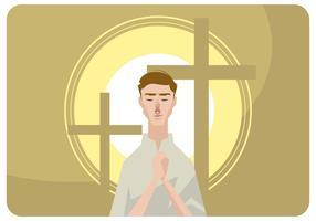 Vettore dell'uomo di preghiera