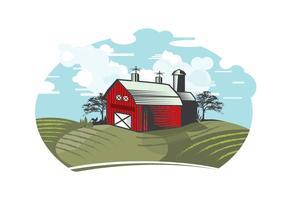 Illustrazione di granaio rosso