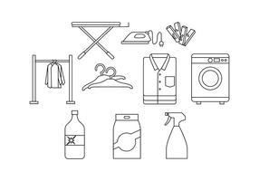 Vettore libero dell'icona della linea della lavanderia