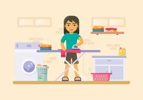 Stanza della lavanderia con l'illustrazione della tavola da stiro