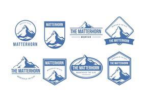 Collezione di Distintivi della Montagna del Cervino vettore
