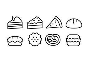 Set di icone di pane e prodotti da forno vettore