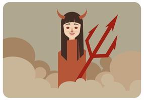 Ragazza con il vettore dei corni del diavolo