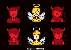 Vettore disegnato a mano di angelo e diavolo