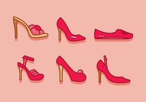 Vettore delle scarpe della donna delle pantofole dei rubini