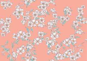 Il corniolo fiorisce il modello senza cuciture su fondo rosa vettore