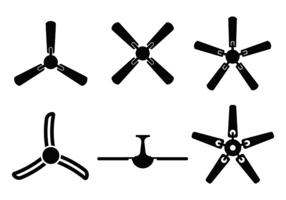 Vettore della siluetta del fan del soffitto dalla vista dal basso