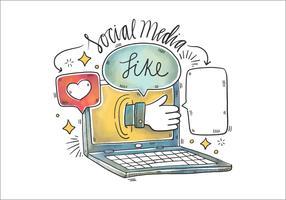 Illustrazione dell'acquerello del computer portatile, del fumetto e dei social media