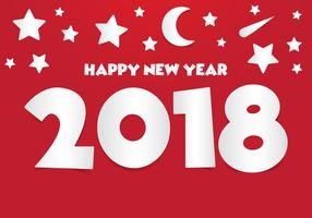 Illustrazione di carta del nuovo anno 2018