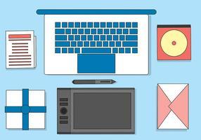 Illustrazione libera del desktop piano di vettore di progettisti
