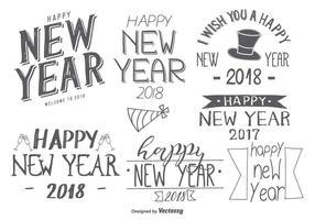 Etichette disegnate a mano di nuovo anno 2018 abbozzato