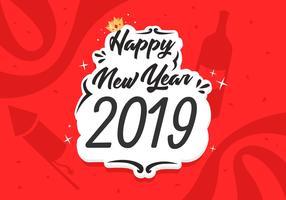 Felice anno nuovo 2019 illustrazione vettoriale gratuito