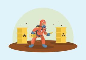 Lavoratore di rifiuti velenosi con illustrazione di respiratore vettore