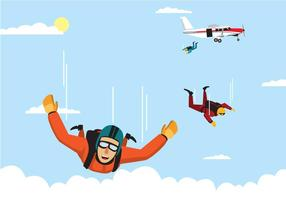 La squadra dello Skydiver che salta da un vettore dell'aeroplano